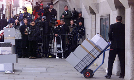 Court documents arrive at the Old Bailey